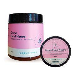 """fundo branco com dois cremes faciais neutro flora fiora ao centro. embalagem preta com rótulos rosa, onde se lê """"Creme Facial Neutri, ingredientes vegetais, sem essências""""."""