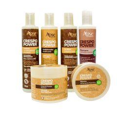 fundo branco e 6 produtos da linha crespo power ao centro, embalagens brancas com rótulos marrons