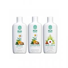 Shampoo e condicionador camomila + creme de pentear oliva