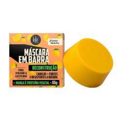 fundo branco com caixinha de máscara em barra de reconstrução lola, de cor laranja com desenhos de mangas. ao lado, uma barra em cor amarelada